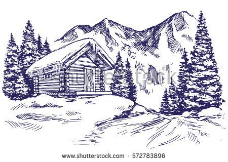 House In Mountain The Snow Landscape Hand Drawn Vector Illustration Sketch Christmas Scene Drawing Mountain Drawing Cool Art Drawings