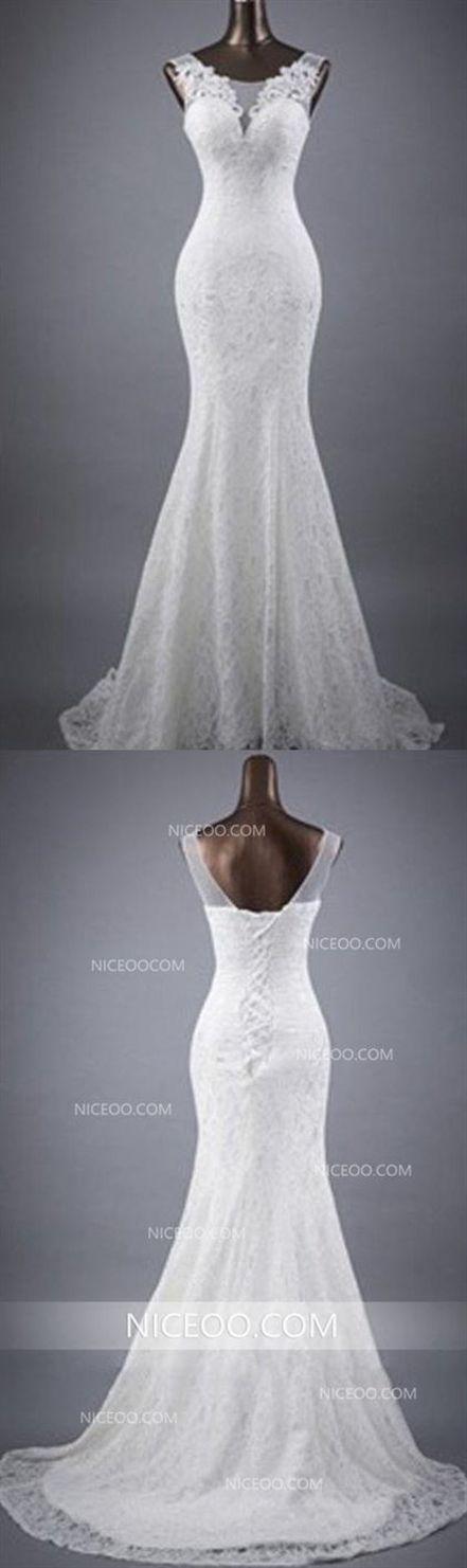 9ff0c715d4c3 Mermaid Round Neck Sleeveless Open Back Wedding Dresses Best Bride Gown