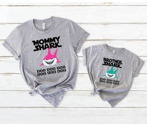 Brother Shark doo Doo doo Gift For Big Little Brother Youth Kids T-Shirt Dance