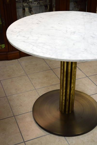 Custom Made Compact Round Dining Table With Understated White