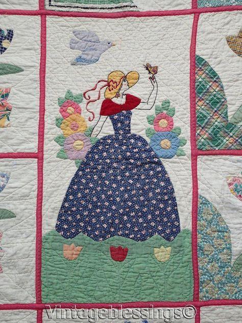 Vtg 30s Quilt Pattern ~ Rose Applique ~ Depression Era