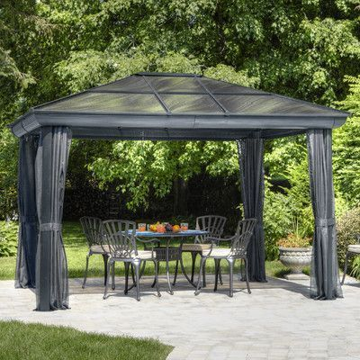 Gazebo Penguin Four Season 10 Ft W X 14 Ft D Metal Permanent Gazebo Frame Finish Slate Grey Patio Gazebo Aluminum Gazebo Aluminum Patio