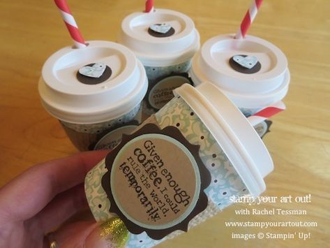 Adorable Mini Coffee/Tea Taster Cups with Container that holds FOUR & matching card! Tutorial here. Stampin' Up!® - Stamp Your Art Out! www....