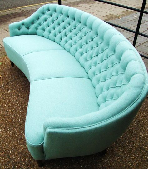 dark blue velvet sofa | 50's curved buttoned sofa in pale blue wool
