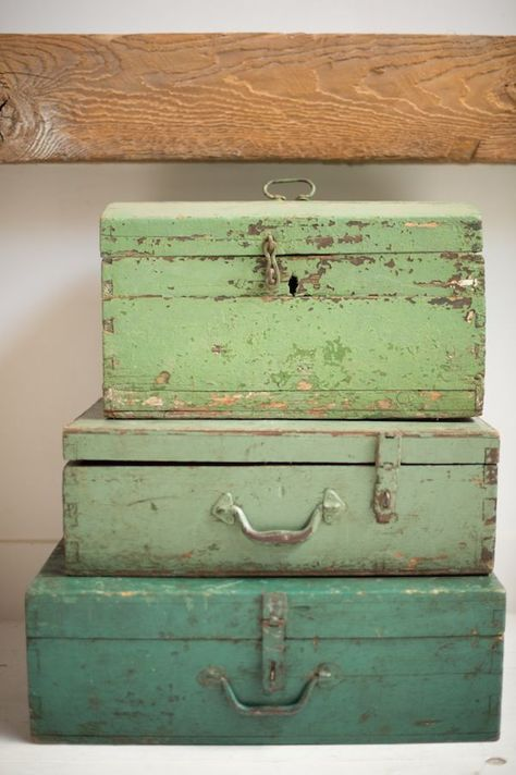 love theses rustic boxes stacked up with their worn chippy green paint finish. Great storage solution in keeping with your French country interior Vintage Green, Vintage Decor, Vibeke Design, Vintage Luggage, Vintage Suitcases, Old Boxes, Color Theory, Shades Of Green, My Favorite Color