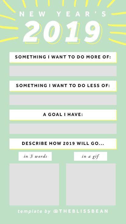 Instagram Stories Template Theblissbean New Year 2019 Instagram Story Template New Years Resolution New Year Goals