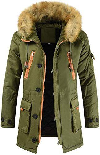 ARTFFEL Mens Winter Regular Fit Thicken Zip Up Hoodie Down Quilted Coat Jacket Overcoat