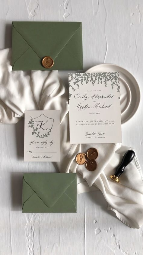 Ivy and Calligraphy Wedding Invitations