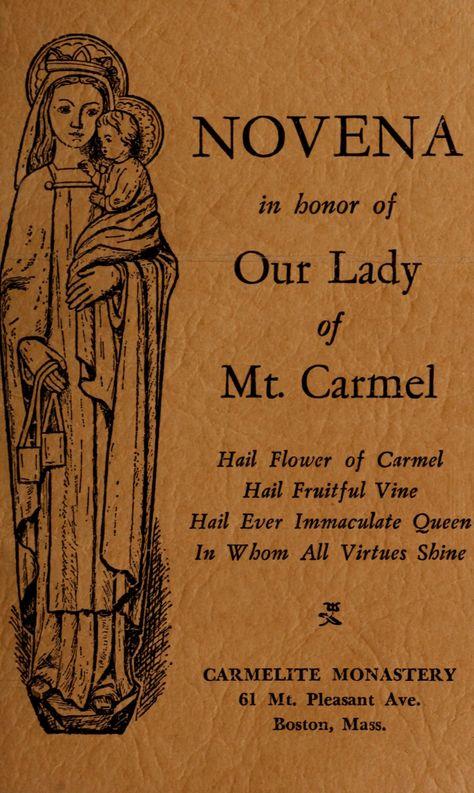 NOVENA in honor of Our Lady of Mount Carmel 1928 Carmelite Monastery