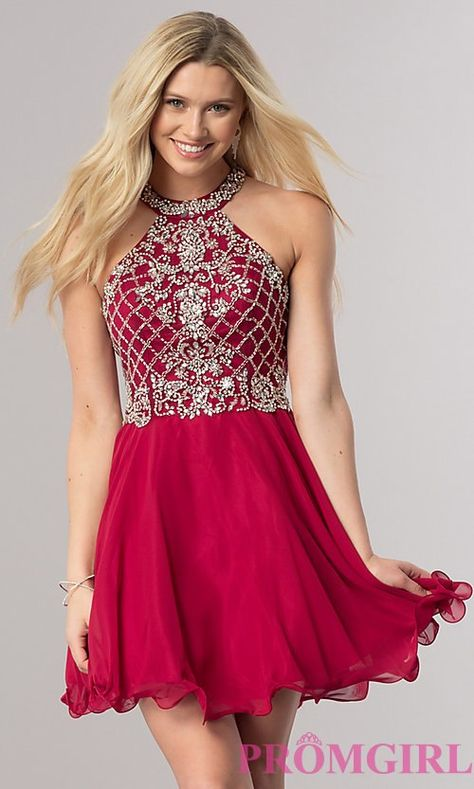 b37995d8 Image of short burgundy red homecoming party dress with beads. Style: DQ-2116  Front Image