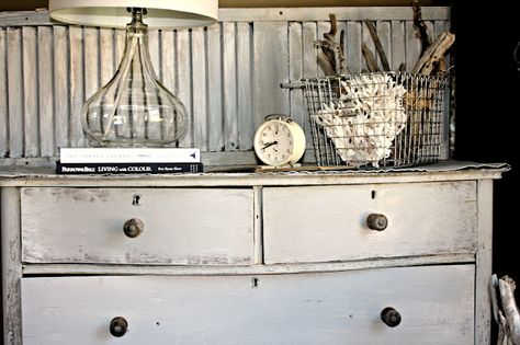 How to create an antique weathered white furniture finish.