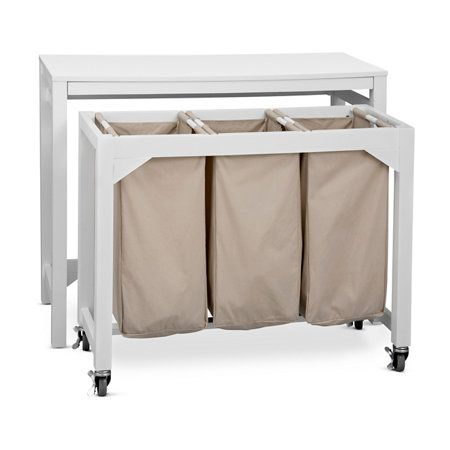 Laundry Folding Table With 3 Clothes Hampers Laundry Room Diy
