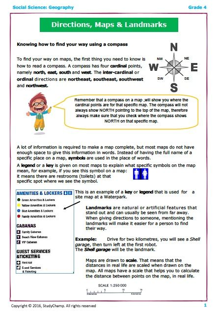 Grade 4 Geography Directions And Landmarks Social Studies Worksheets Classroom Rules Poster Social Science