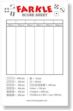 photo regarding Printable Farkle Score Sheet known as Farkle Ranking Sheets yard video games Yahtzee ranking card