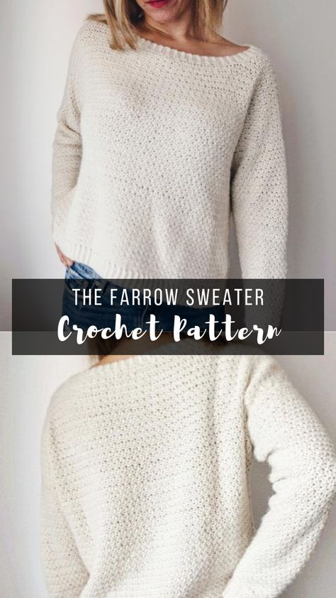 *FARROW CROCHET SWEATER PATTERN* This crochet sweater has such a basic simple feel and design but it looks and will make you feel like a million bucks! Easy to follow crochet sweater pattern for women. #crochetsweater #crochetsweaterpattern #sweaterpatternscrochet #sweatercrochetpatterns #womenscrochetsweaterpatterns #crochetpatterns #sweaters
