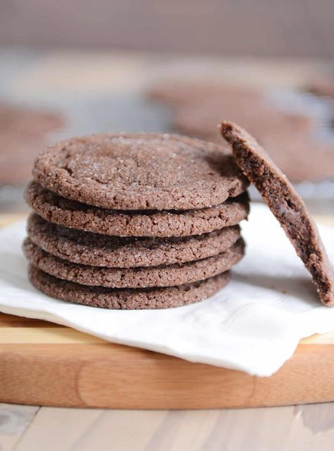 These super soft chocolate sugar cookies are easy as can be and so incredibly delicious! Bonus: cook them a few minutes longer for a thin and crispy cookie! | melskitchencafe.com #cookies #chocolate #sugarcookies #chocolatesugarcookies