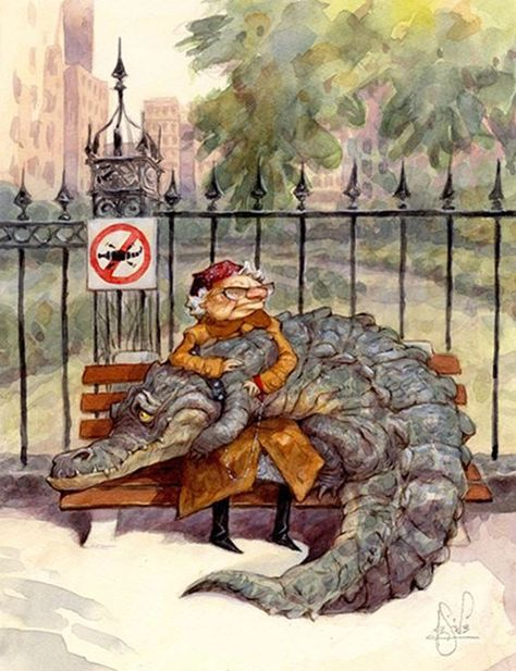 A funny illustration by Peter de Seve f an old lady with an alligator on her lap – Animation ideas Art And Illustration, Illustration Inspiration, Crocodile Illustration, Watercolor Illustration, Comic Kunst, Comic Art, Fantasy Kunst, Fantasy Art, New Yorker Covers