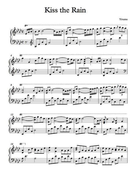 Kiss The Rain Jpg 850 1 100 Pixels Piano Sheet Music Sheet