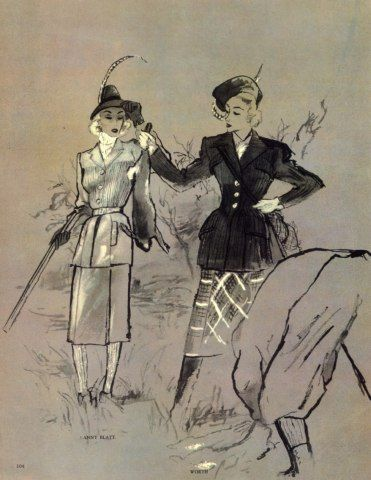 illustration française de mode : Anny Blatt & Worth, 1945,  par Bernard Blossac, chasse, gris