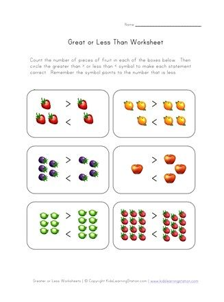 Simple Greater And Less Than Fruit Kindergarten Worksheets Kindergarten Addition Worksheets Kindergarten Worksheets Printable