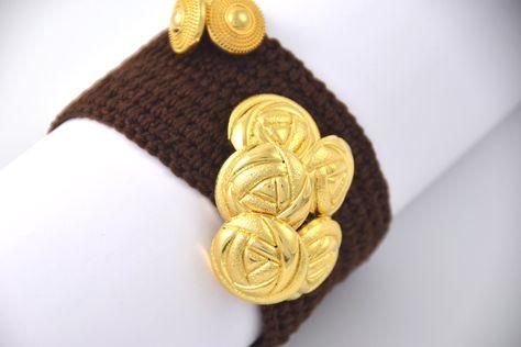piuttosto fico accogliente fresco nuovi speciali bracciale BrownGold Tricot+accessori | Accessori, Bracciali e Etsy