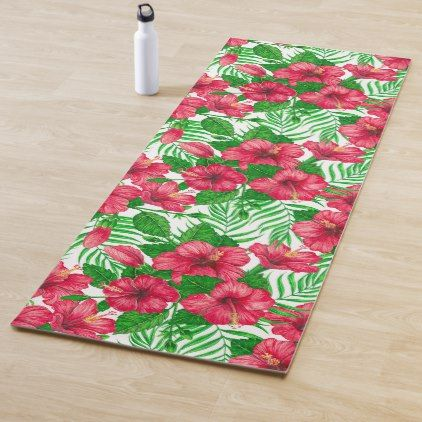 Hibiscus And Palm Leaves Yoga Mat Zazzle Com Hibiscus Watercolor Pattern Design Hibiscus Leaves