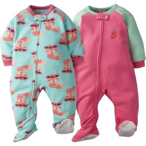 b80c8b7fe1dc 2-Pack Baby Girl Fox Blanket Sleepers