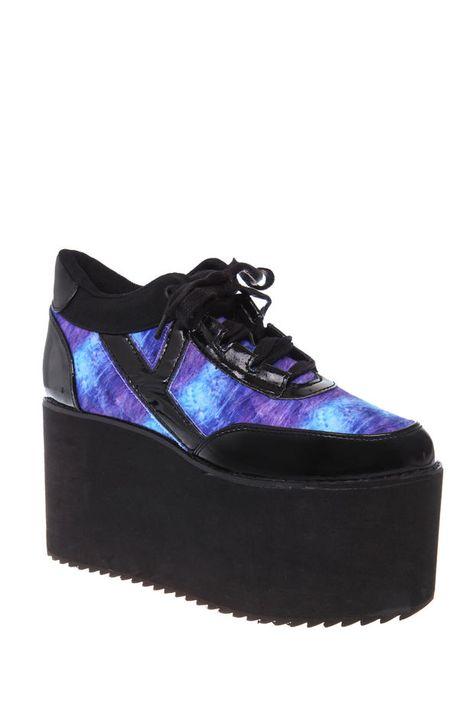 YRU Qozmo Black & Blue Platform Sneakers | Hot Topic | Hot