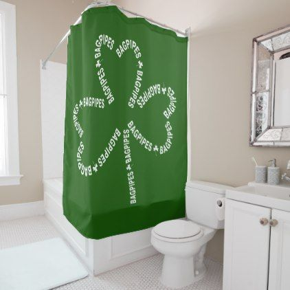Bagpipes White Text Shamrock Shower Curtain St Patricks Day