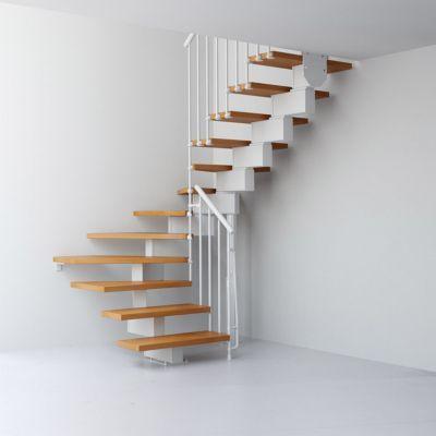 Escalier En U Metal Et Bois Magia 90 L 70 Cm 10 Marches Gris Blanc