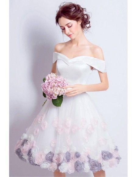 Lovely A Line Off The Shoulder Knee Length Satin Wedding Dress