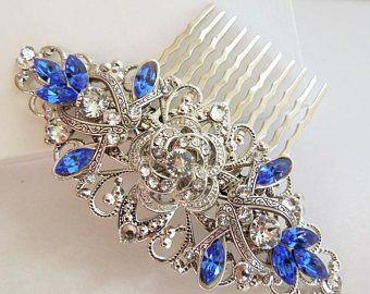 Swarovski Crystal Bridal Hair Comb Something Blue Wedding Hair