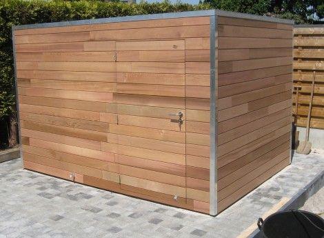 Abri de jardin moderne Cubus en cèdre, toit plat - Cerisier ...