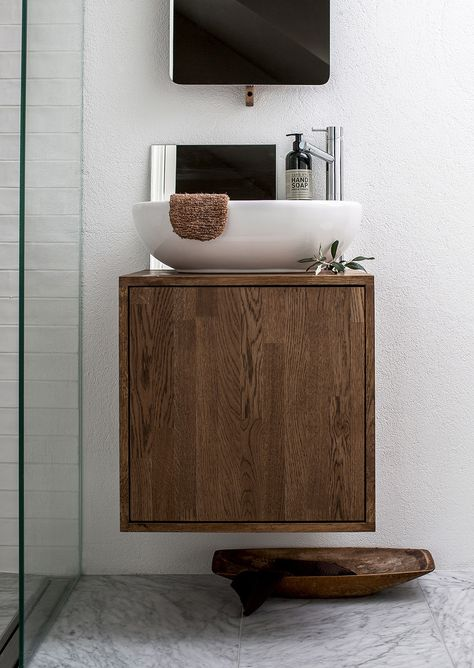 wood bathroom cubboard, great basin. Small space but good use