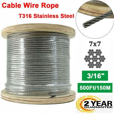 Cable Railing Type 316 Stainless Steel Wire Rope Cable 3 16 7x7 500ft Reel Ebay Stainless Steel Wire Cable Railing 316 Stainless Steel