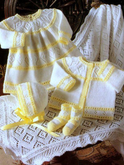 f27087c24 Vintage Knitting Pattern Layette Matinee Baby Set Cardigan Jacket ...