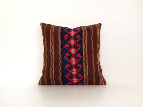 Wool Kilim Cushion Cover Ethnic Home Decor Old Pillows Authentic Pillow Throw Pillow Accent Turkish Kilim Bohemian Rustic Pillow 16''x16'' by artgrandhome on Etsy