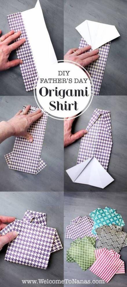 Dos formas de hacer una camisa de origami Tarjeta del día del ...