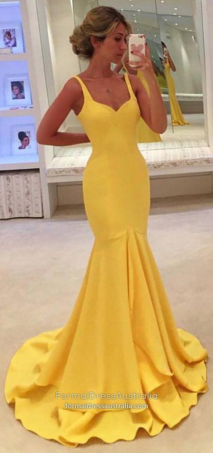 c2ea0bbd06701 Mermaid Formal Dresses Long, Yellow Prom Dresses Modest, Elegant ...