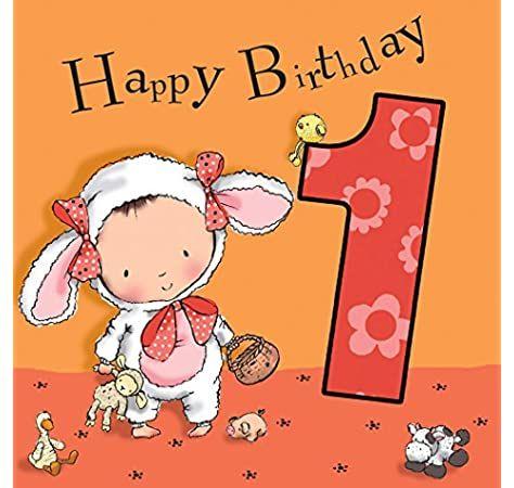 Twizler-Carte de 1er anniversaire pour fille avec dessin de princesse et de papillon