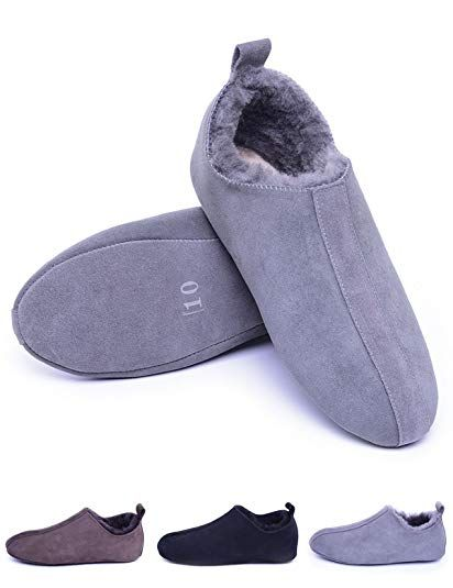 861a0efedcc Men's Sheepskin Slippers with Soft Leather Sole,Shearling House ...