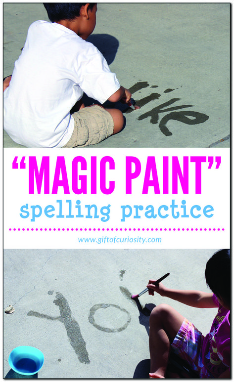 Using magic paint is a super simple, low-cost, and virtually no-mess way for kids to practice spelling words or sight words. | #giftofcuriosity #handsonlearning || Gift of Curiosity
