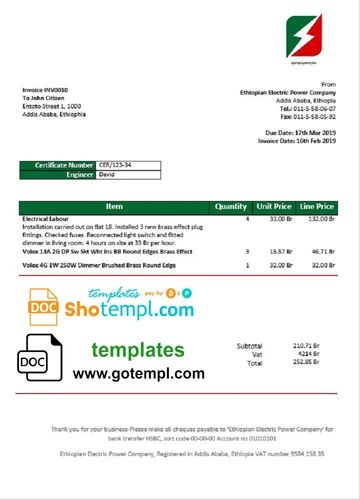 Ethiopia Ethiopian Electric Power Company Electricity Utility Bill Tem Shotempl In 2020 Bill Template Electric Power Document Templates
