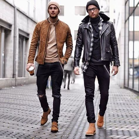 street style combo with a black leather jacket suede jacket beanie ripped black denim brown suede double monks brown boots black denim