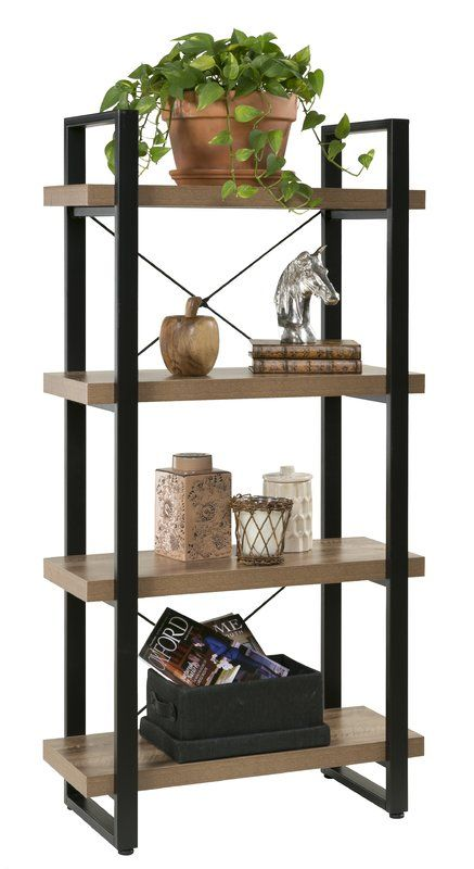 Rainey 4 Tier Etagere Bookshelf Living Room Bookcase Loft Bed Frame Bathroom Shelf Decor
