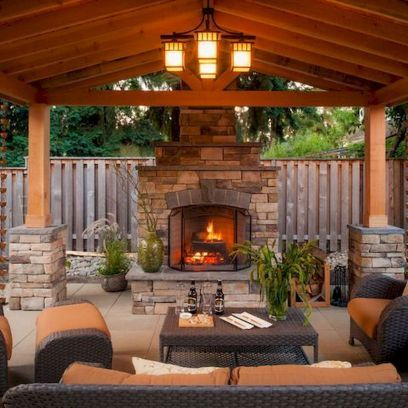Awesome Gazebo Backyard Ideas With Images Outdoor Fireplace
