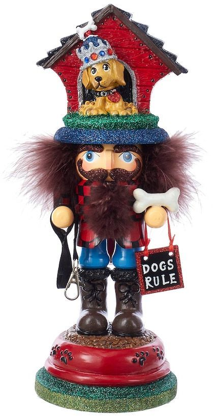 Any animal lover is sure to adore this Kurt Adler Hollywood Nutcrackers dog house Christmas table decor.