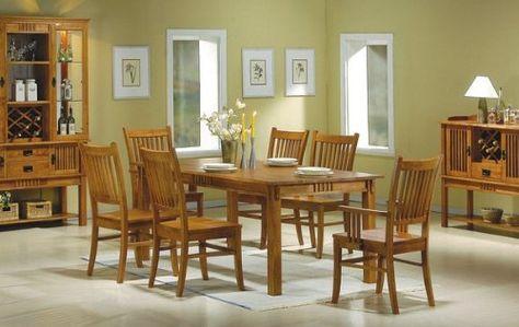 7 Pc Medium Brown Finish Wood Mission Style Dining Room Table Set