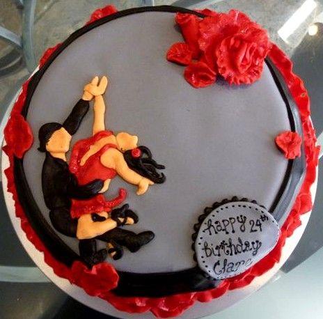 Salsa Dancing Themed Cake with fondant decor