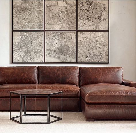 The Petite Maxwell Leather Right Arm Sofa Chaise Sectional